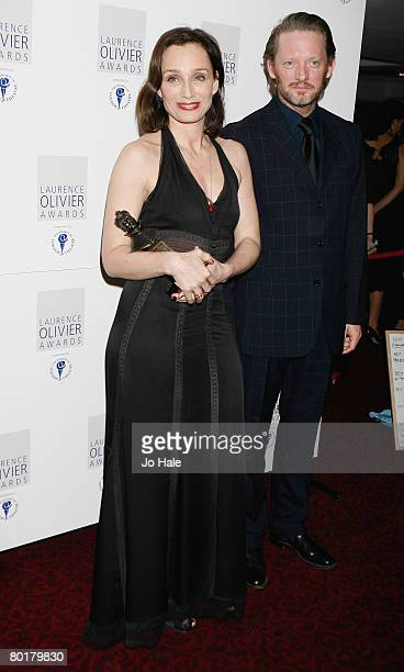Kristin Scott Thomas, winner of best actress for The Seagull poses in the awards room with Douglas Henshall at the Laurence Olivier Awards at...