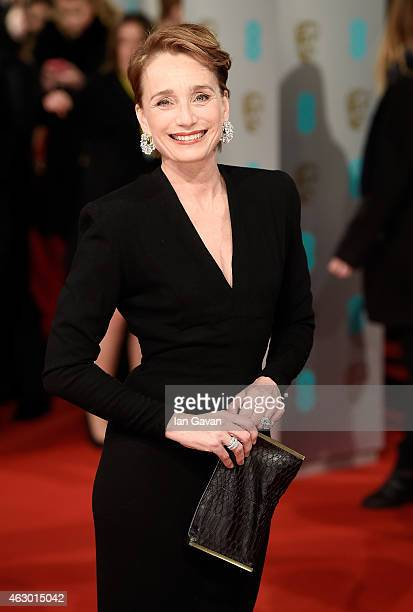 Kristin ScottThomas attends the EE British Academy Film Awards at The Royal Opera House on February 8 2015 in London England