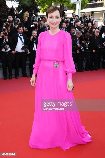 Kristin ScottThomas attends the The Killing Of A Sacred Deer screening during the 70th annual Cannes Film Festival at Palais des Festivals on May 22...