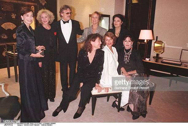 Kristin ScottThomas Marisa Paredes Kris Kristofferson and wife Lisa Anouk Aimee Anjelica Huston Jane Birkin Charlotte Rampling at theChanel Dinner...