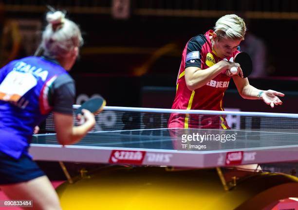 Kristin Silbereisen of Germany in action during the Table Tennis World Championship at Messe Duesseldorf on May 30, 2017 in Dusseldorf, Germany.