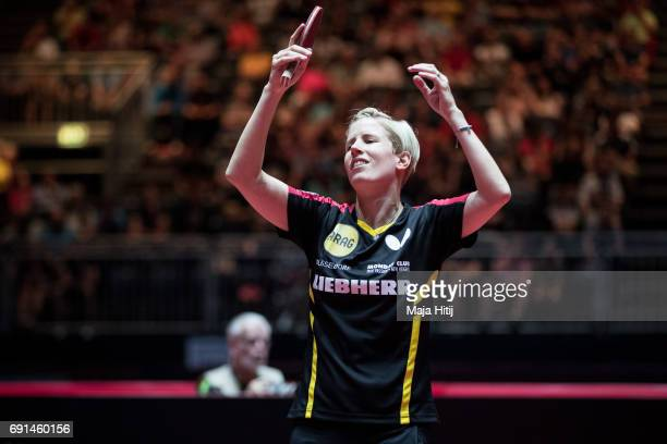 Kristin Silbereisen of Germany reacts during Women Single eight finals at Table Tennis World Championship at Messe Duesseldorf on June 2 2017 in...