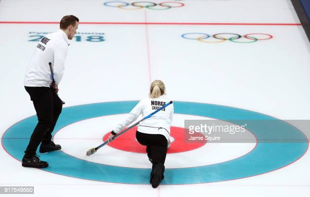 Kristin Skaslien and Magnus Nedregotten of Norway deliver a stone against Olympic Athletes from Russia during the Curling Mixed Doubles Bronze Medal...