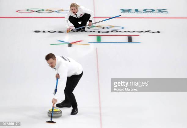 Kristin Skaslien of Norway delivers a stone against Olympic Athletes from Russia during the Curling Mixed Doubles Bronze Medal Game on day four of...