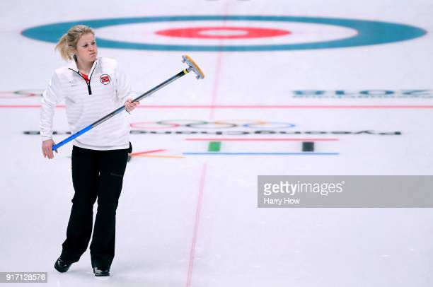 Kristin Skaslien of Norway reacts to her shot in an 84 loss to Canada during the Curling Mixed Doubles SemiFinals Session One at Gangneung Curling...