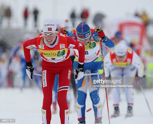Kristin Steira Stoermer of Norway competes during the 10km women handicap start for the FIS Cross Country World Cup Tour de Ski on January 02 2010 in...