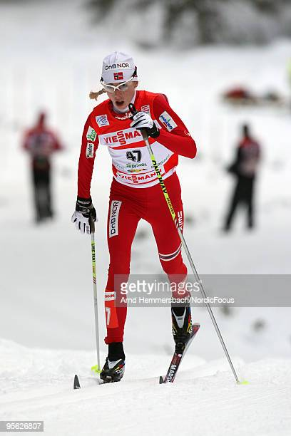 Kristin Stoermer Steira of Norway competes during the 5km women for the FIS Cross Country World Cup Tour de Ski on January 07 2010 in Toblach...