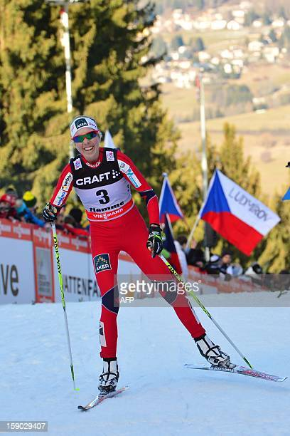 Kristin Stoermer Steira of Norway crosses the finish line third during the women's 9km free final climb pursuit of the Tour de Ski in Val di Fiemme...