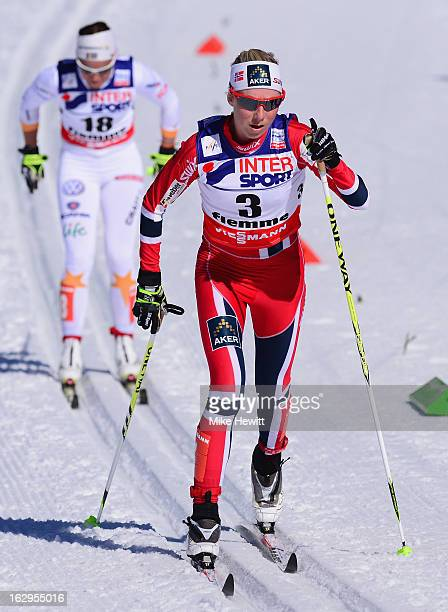 Kristin Stoermer Steira of Norway in action during the Women's Cross Country Mass Start 30Km at the FIS Nordic World Ski Championships on March 2...