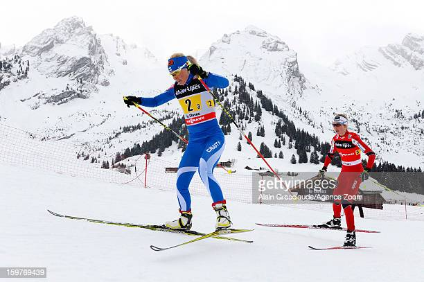 Kristin Stoermer Steira of Norway takes 1st place during the FIS CrossCountry World Cup Women's Relay Start on January 20 2013 in La Clusaz France