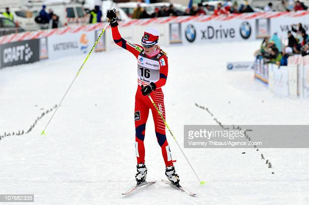 Kristin Stoermer Steira of Norway takes 3rd place during the FIS CrossCountry World Cup Women's 15 km Mass Start on December 18 2010 in La Clusaz...