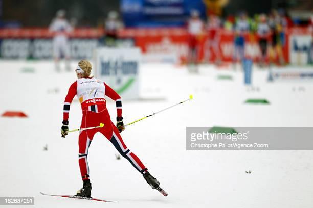 Kristin Stoermer Steira of Norway takes the gold medal during the FIS Nordic World Ski Championships Cross Country Women's Relay on February 28 2013...