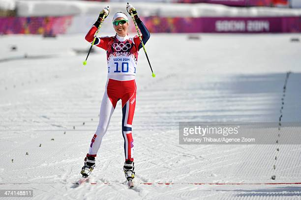 Kristin Stoermer Steira of Norway wins bronze medal during the CrossCountry Women's 30km Mass Start at the Laura Crosscountry Ski Biathlon Center on...