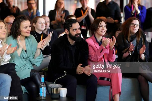 Kristin Thora Haraldsdottir Ardalan Esmail and Emma Drogunova are seen during the photo call presenting the European Shooting Stars 2019 as part of...