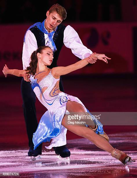 Kristina Astakhova and Alexei Rogonov from Russia pairs bronze medal winners perform during ISU Rostelecom Cup of Figure Skating 2014 on November 16...