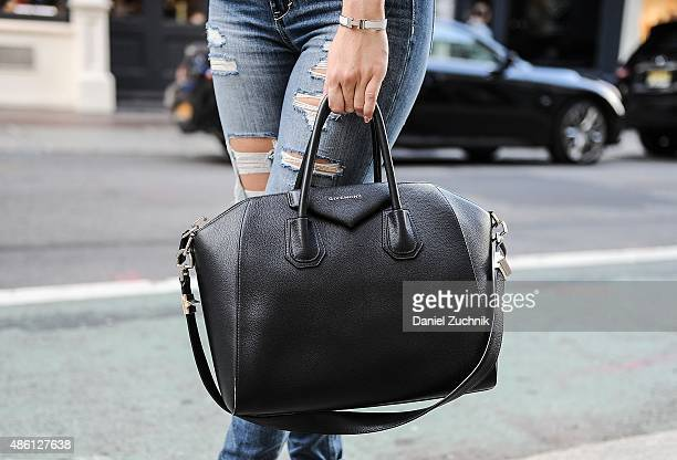 Kristina bag detail is seen in Soho with a Givenchy bag on August 31 2015 in New York City