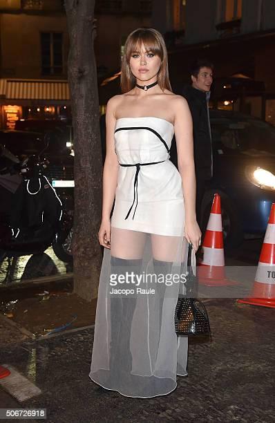 Kristina Bazan arrives at the Gianbattista Valli fashion show Paris Fashion Week Haute Coture Spring /Summer 2016 on January 25 2016 in Paris France