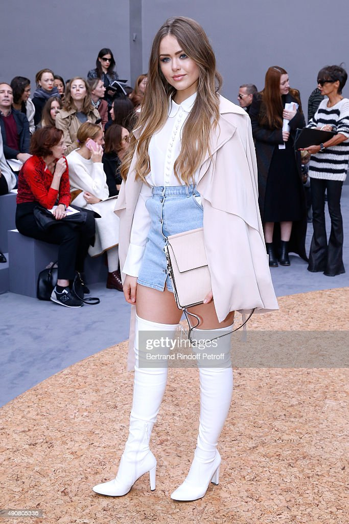 Kristina Bazan attends the Chloe show as part of the Paris Fashion Week Womenswear Spring/Summer 2016. Held at Grand Palais on October 1, 2015 in Paris, France.