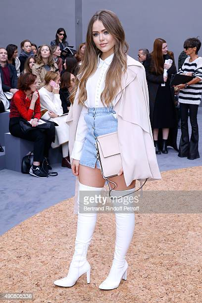 Kristina Bazan attends the Chloe show as part of the Paris Fashion Week Womenswear Spring/Summer 2016 Held at Grand Palais on October 1 2015 in Paris...