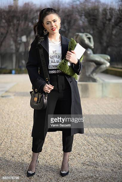 Kristina Bazan attends the Christian Dior Haute Couture Spring Summer 2017 show as part of Paris Fashion Week at Musee Rodin on January 23 2017 in...