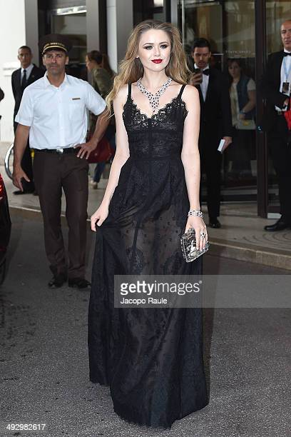 Kristina Bazan is seen leaving Hotel Martinez on day 9 of the 67th Annual Cannes Film Festival on May 22 2014 in Cannes France