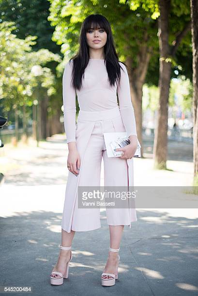 Kristina Bazan poses before the Zuhair Murad show at the Grand Palais during Paris Fashion Week Haute Couture FW 16/17 on July 6 2016 in Paris France
