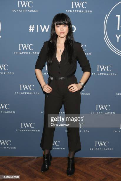 Kristina Bazan visits the IWC booth during the Maison's launch of its Jubilee Collection at the Salon International de la Haute Horlogerie on January...