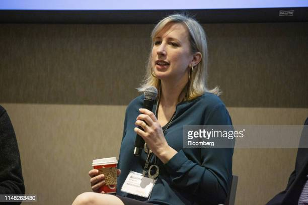 Kristina Bergman, founder and chief executive officer of Integris Software Inc., speaks during the GeekWire Cloud Summit in Bellevue, Washington,...