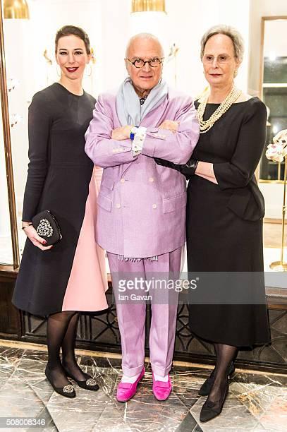 Kristina Blahnik Manolo Blahnik and Evangelina Blahnik attend the Manolo Blahnik store launch at Burlington Arcade on February 2 2016 in London...