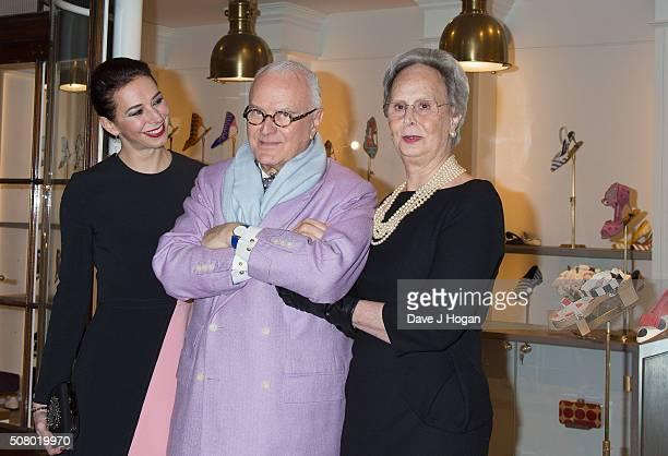 Kristina Blahnik Manolo Blahnik and Evangelind Blahnik attend The Store Launch at Burlington Arcade on February 2 2016 in London England