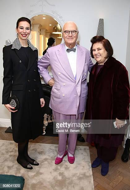 Kristina Blahnik Manolo Blahnik and Suzy Menkes attend the Manolo Blahnik store launch in Burlington Arcade on February 2 2016 in London England
