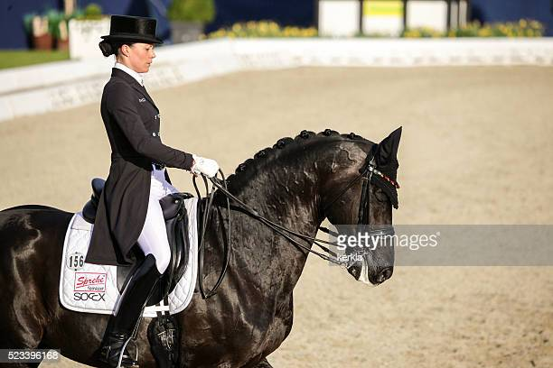 kristina broering-sprehe with desperados at horses & dreams 2016 - dressage stock pictures, royalty-free photos & images