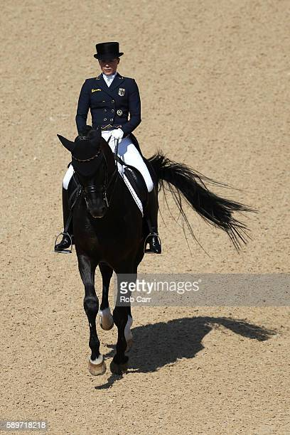 Kristina Broring-Sprehe of Germany riding Desperados Frh competes in the Dressage Individual Grand Prix Freestyle on Day 10 of the Rio 2016 Olympic...