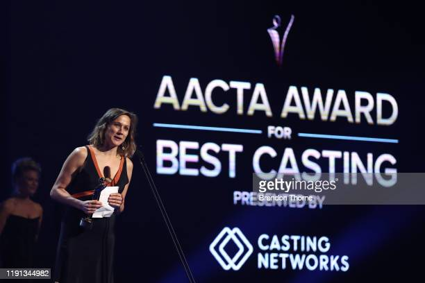 Kristina Ceyton accepts the AACTA Award for Best Casting on behalf of Nikki Barrett during the 2019 AACTA Awards Presented by Foxtel | Industry...