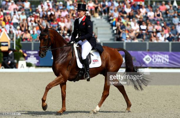 Kristina Cook of Great Britain riding Billy the Red competes during Day 3 of Longines FEI Dressage European Championship on August 30, 2019 in...