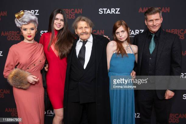 MOSH Kristina Coolish Bruce Glover Mika Jones and Crispin Glover arrive at the premiere of STARZ's 'American Gods' Season 2 at Ace Hotel on March 05...