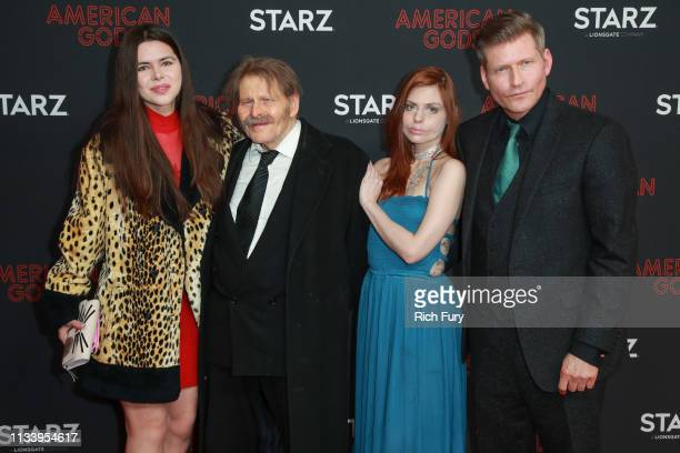 Kristina Coolish Bruce Glover Mika Jones and Crispin Glover attend the premiere of STARZ's 'American Gods' season 2 at Ace Hotel on March 05 2019 in...