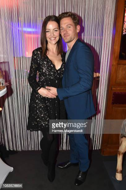 Kristina Doerfer and her husband Joscha Kiefer during the VIP premiere of Schuhbecks Teatro at Spiegelzelt on October 25, 2018 in Munich, Germany.