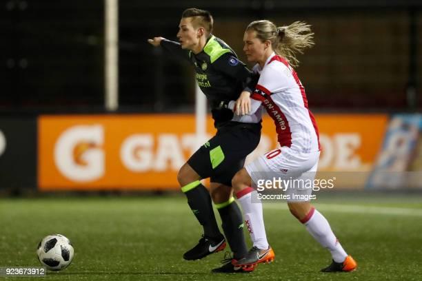 Kristina Erman of PSV Women, Desiree van Lunteren of Ajax Women during the Dutch Eredivisie Women match between Ajax v PSV at the De Toekomst on...