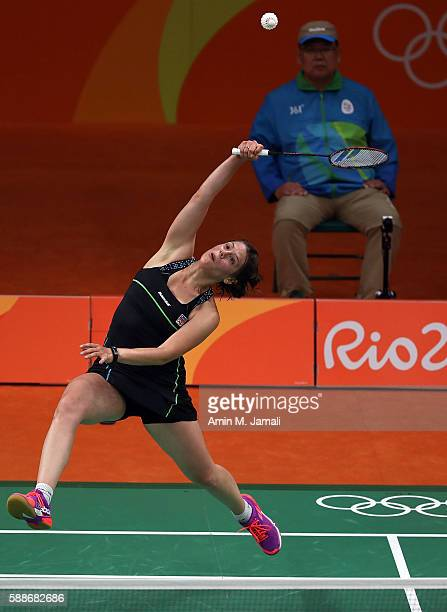 Kristina Gavnholt of Czech Republic competes against Akane Yamaguchi of Japan in the badminton Women's Singles Group Play Stage - Group K on Day 7 of...