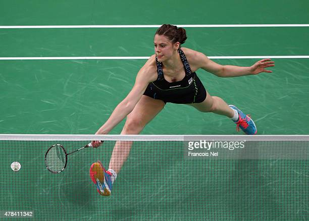 Kristina Gavnholt of Czech Republic competes against Lianne Tan of Belgium in Women's Singles round of 16 match during day thirteen of the Baku 2015...