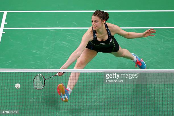 Kristina Gavnholt of the Czech Republic competes in the Women's Badminton round of 16 match against Lianne Tan of Belgium during day thirteen of the...