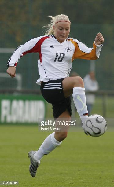 Kristina Gessat of Germany in action during the Women's U17 international friendly match between France and Germany on October 31 2006 in...