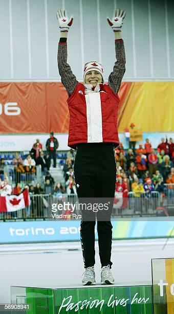 Kristina Groves of Canada celenbrates after winning Silver in the 1500m women's Speed Skating Final during Day 12 of the Turin 2006 Winter Olympic...
