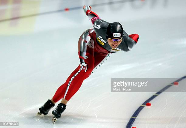 Kristina Groves of Canada competes in the women's 1000 m Division A race during the Essent ISU World Cup Speed Skating on November 7 2009 in Berlin...