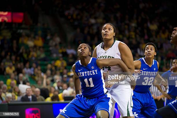 Kristina Higgins of the Baylor University Bears is boxed out by DeNesha Stallworth of the University of Kentucky Wildcats on November 13 2012 at the...