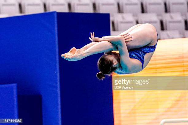 Kristina Ilinykh of Russia competing at the Team Event Final during the LEN European Aquatics Championships 1m Springboard Preliminary at Duna Arena...