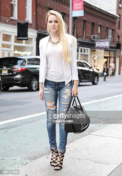 Kristina is seen in Soho wearing a Banana Republic blazer Zara jeans Steve Madden shoes with a Givenchy bag on August 31 2015 in New York City