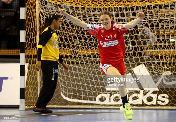 Kristina Jorgensen of Denmark celebrates after scoring a goal during the IHF Women's Handball World Championship group C match between Denmark and...
