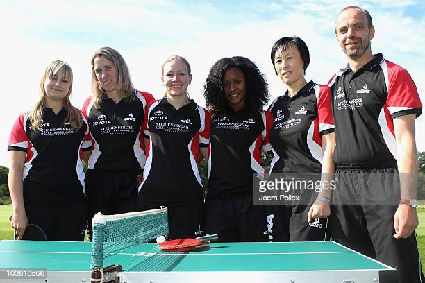 Kristina Kovac Nicole Meyer Jasmin Kersten Funke Oshonaike Jie Schoepp and head coach Stephan Rauterberg of SC Poppenbuette are pictured during the...